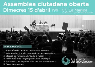 Assemblea 15 D'abril: Aprovació Reglament Revocació Càrrecs Públics