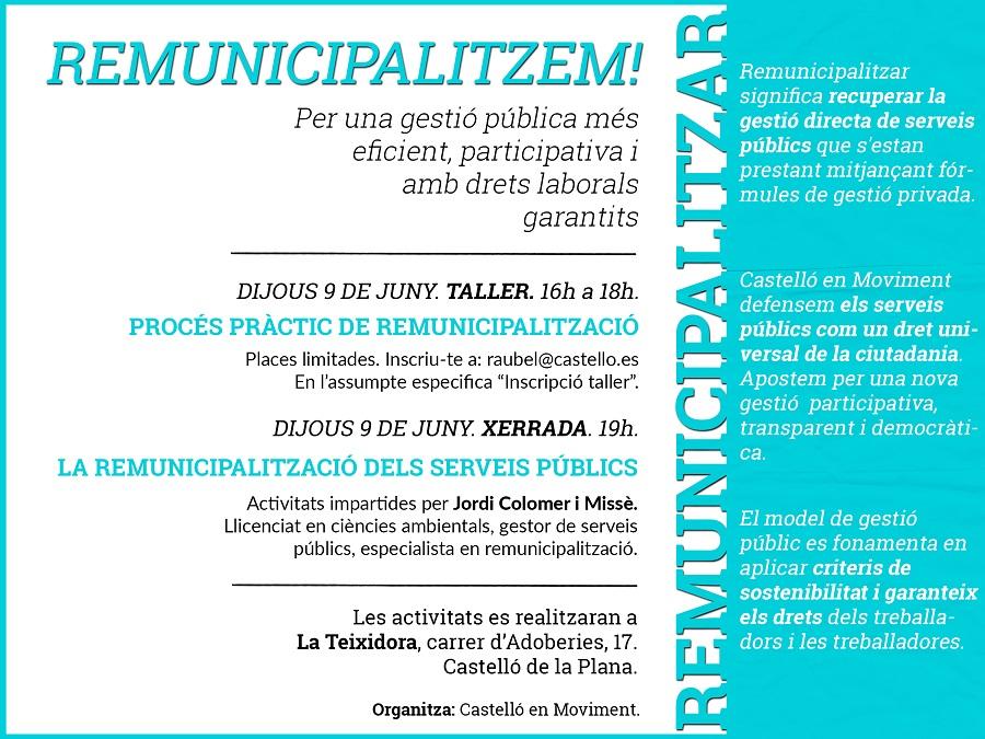 Formació Per A Preparar Les Pròximes Remunicipalitzacions De L'Ajuntament De Castelló