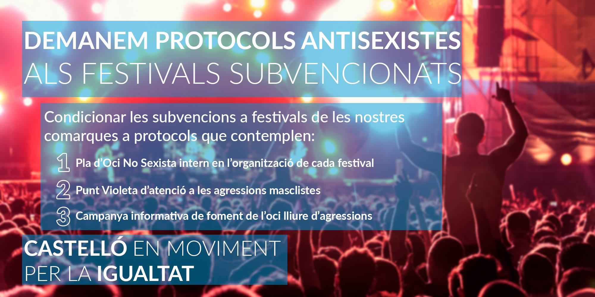 Demanem A La Diputació Que Condicione Les Subvencions Per Festivals A La Creació De Protocols Antisexistes