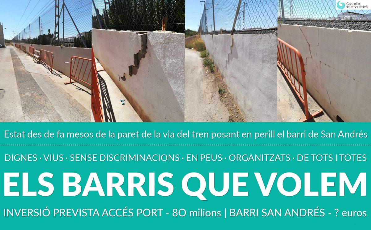 El Ministeri De Foment Manté En Un Estat Ruïnós Les Parets De La Via Del Tren En El Barri De San Andrés