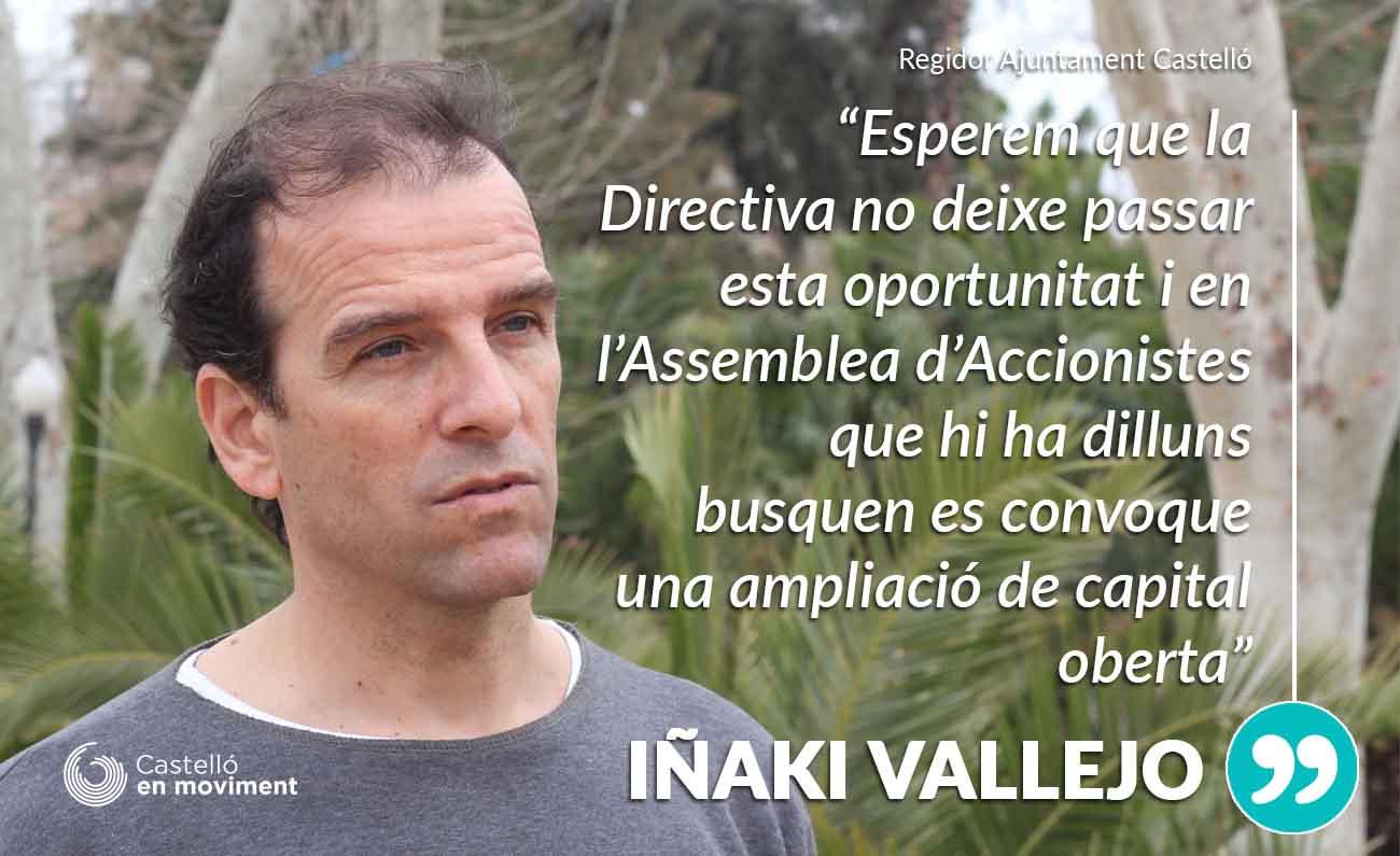 Vallejo: «Esperem Que La Moció Sobre Castàlia Permeta Que L'ampliació De Capital Del CE Castelló Siga Oberta»