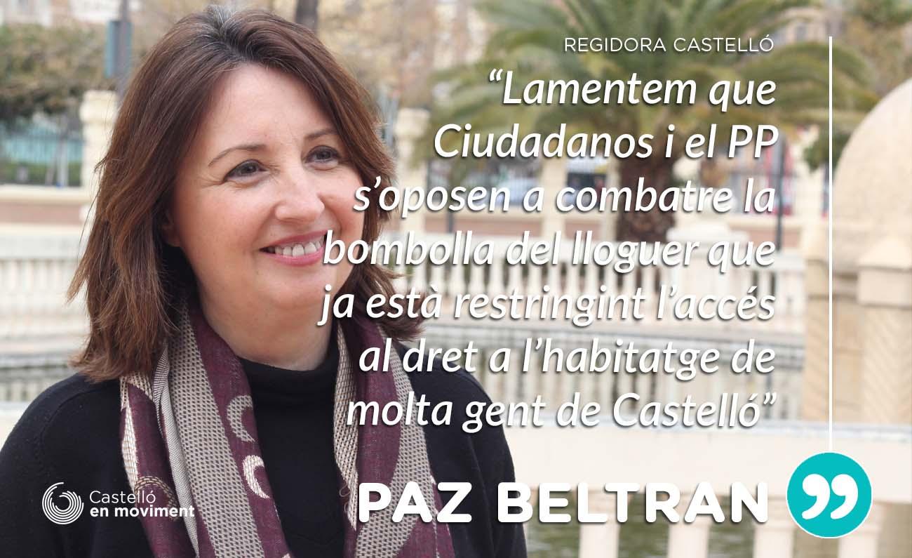 """Paz Beltran: """"lamentem Que PP I Ciudadanos S'oposen A Combatre La Bombolla Dels Preus De Lloguer"""""""